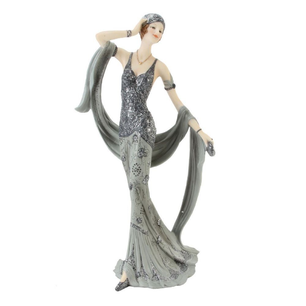 Art Deco Silver Grey Lady Figurine Midnight Shimmer Juliana statue - 'Shirley' 60749
